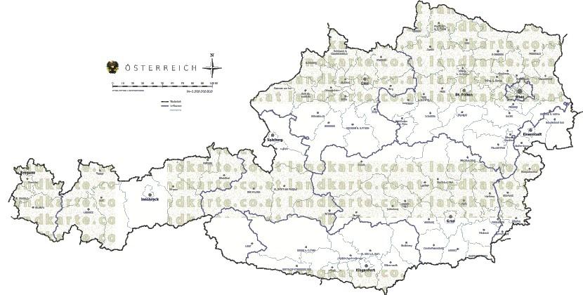 oesterreich landkarte gemeindekarte bezirksgrenzen. Black Bedroom Furniture Sets. Home Design Ideas