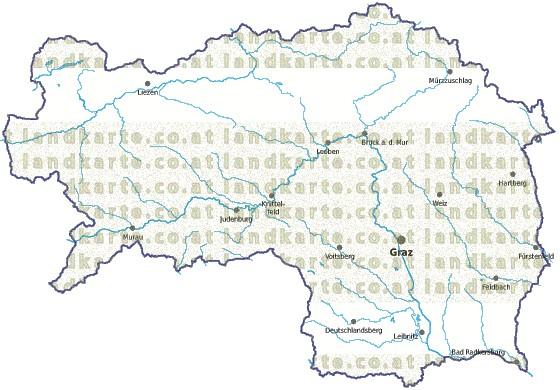 Steiermark Karte Flüsse.Steiermark Landkarte Gemeindekarte Gewaesser
