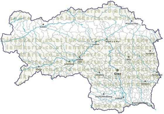Steiermark Karte Flüsse.Steiermark Landkarte Gemeindekarte Regionen Gemeindegrenzen Gewaesser