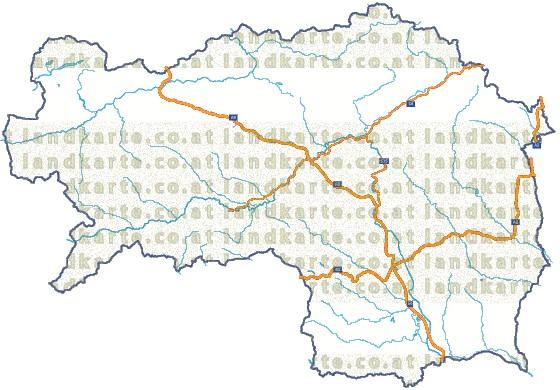 Steiermark Karte Flüsse.Steiermark Strassenkarte Gewaesser